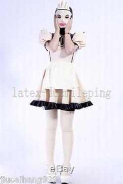 100%Latex Rubber Gummi 0.48mm Maid Dress Skirt Apron Suit Catsuit Hood -E018