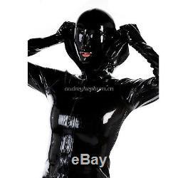 100% Latex Rubber Women Fashion Black Dress Hooded Skirts Size XXS-XXL