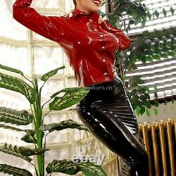 100%Latex Rubber Women Sexy Red Shirt And Package Hip Skirt Suit Set XS-XXL