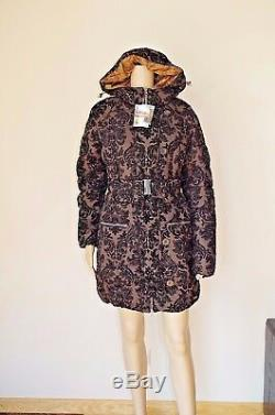 139 Desigual Eur 42 / L Womens Coat Jacket Puffa Winter Floral Puffer Hood