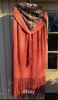1920s Art Deco Chenille Beach Cape Antique 20s Rare Sportswear Hooded As-is