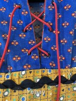 1969 Gunne Sax of California Black Label Prairie Hood Corset Calico Hooded Dress