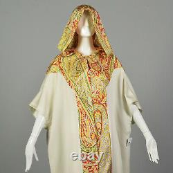 1970s Bohemian Maxi Dress Loose Short Sleeve Kaftan Casual Flowy Hood VTG 70s