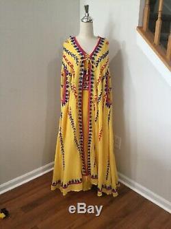 2 Pcs Dress & Cape FANCY embroider 100% cotton CAFTAN ABAYA Hood Boho XL Tribal