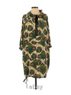 2012 MARNI at H&M Hooded Green Silk Print Dress Anorak Parka Style US 4 MINT