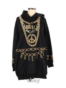 2018 MOSCHINO x H&M Hooded Dress Thick Jersey WithBeads Sequins Chains M MINT