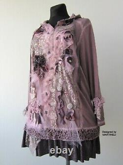 2XL Art to Wear Oversized Hoodie Dress, Plus Size Purple Dress, Boho Gypsy Tops