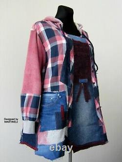 3XL Plus Size Hooded Denim Sweatshirt Dress, Oversized Plaid Hoodie Shirt Dresses