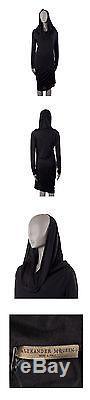 41386 auth ALEXANDER MCQUEEN black viscose Hooded Long Sleeve Dress 44 L