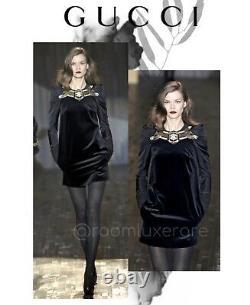 4480$ AUTH! 2007 Gucci Black Velvet Taffeta Dress 38it US 2 Tom Ford HTF