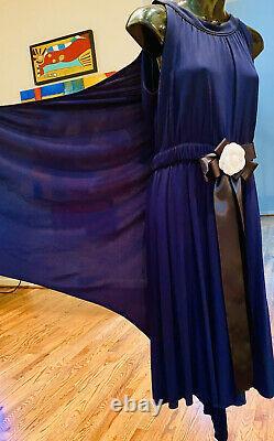 $4500 CHANEL Paris Greece 09p DRESS CAPE 36 38 40 2 4 6 8 Jacket Blue Maxi M Top