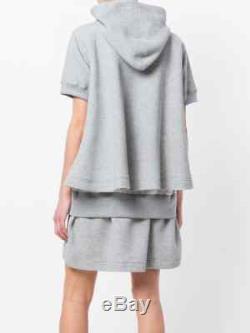 $515 SACAI Gray Cotton Short Sleeves Flared Knit Hooded Sweatshirt Mini Dress 1
