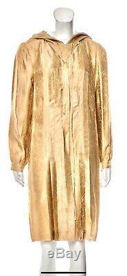 $5500 CHANEL 01p Hooded Gold Logo Print CC Coat Dress Jacket 36 38 40 4 6 8 M L