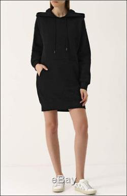 $595 NWT Aut Burberry Cardeiver Embroidered Hood Black Sweatshirt Dress S
