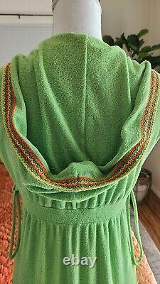 70's Dutchess Sz 9 hooded terry cloth maxi dress beach swimsuit cover EUC