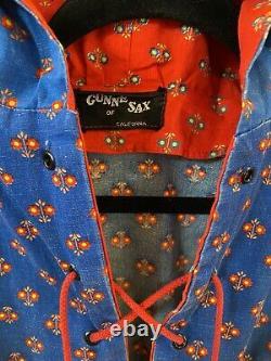 70s Gunne Sax Maxi Dress Hood Black Label Corset Calico Red Yellow Blue Hooded 8