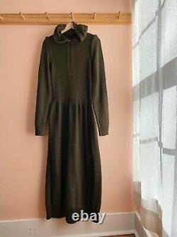 A DETACHER NY runway hooded puff sleeve cotton knit sweater dress maxi S $700