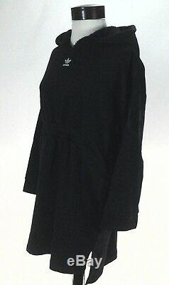 ADIDAS Hoodie Dress Trefoil Big Logo Sherpa Hood Black BR5202 Womens S $120 New