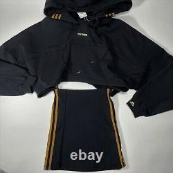 ADIDAS IVY PARK Black Cutout Hooded Dress
