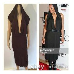 ALAIA VINTAGE SEXY HOODED OPEN BACK DRESS SIZE M/S 1980s