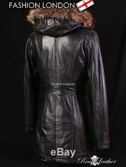 ALASKA' Ladies Black FUR HOODED Parka Real Leather Jacket Winter Coat 9940