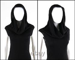ALEXANDER McQUEEN A/W 2004 Black Asymmetric Cowl Neck Draped Hooded Knit Dress