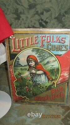 ANTIQUE KARL HARTMANN BISQUE HEAD DOLL DRESSED AS RED RIDING HOOD With PICTURE