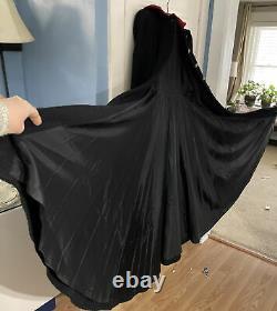 ANTIQUE Victorian/Edwardian Woman's Black Wool Walking Coat Velvet Hood EUC Rare