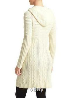ATHLETA Coldspell Cable Knit Sweater Dress L LARGE Ivory Merino Wool, Hooded NEW