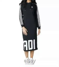 Adidas Black 3 Stripes Maxi Long Hooded Hoodie Tracksuit Dress Uk 10 12 S Small