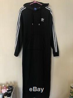 Adidas Black 3 Stripes Maxi Long Hooded Hoodie Tracksuit Dress Uk 10 S M Rare
