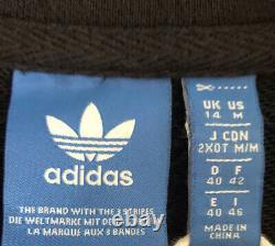 Adidas Black 3 Stripes Maxi Long Hooded Hoodie Tracksuit Dress Uk 14 M L Rare