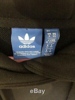 Adidas Black 3 Stripes Maxi Long Hooded Hoodie Tracksuit Dress Uk 6 XS S Rare
