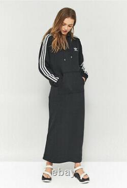 Adidas Black 3 Stripes Maxi Long Hooded Hoodie Tracksuit Dress Uk 8 10 S M