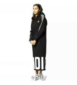Adidas Black 3 Stripes Maxi Long Hooded Hoodie Tracksuit Dress Uk 8 10 S Small