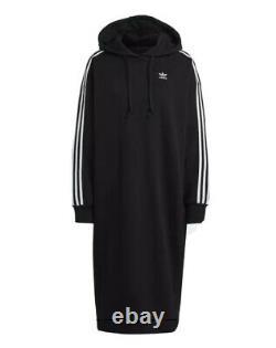 Adidas Black 3 Stripes Midi Long Hooded Hoodie Dress Oversized 8 Fits 10 12 14