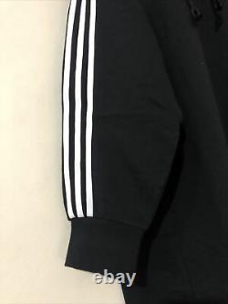 Adidas Black 3 Stripes Midi Long Hooded Hoodie Dress Oversized Uk 12 14 16 18 XL