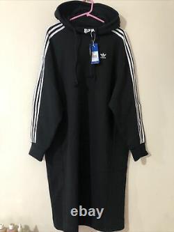 Adidas Black 3 Stripes Midi Long Hooded Hoodie Dress Oversized Uk 14 16 18 M L