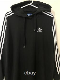 Adidas Black Logo 3 Stripes Maxi Long Hooded Hoodie Tracksuit Dress Uk 10 12 M