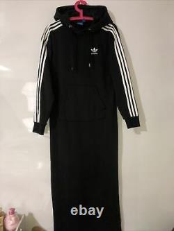 Adidas Black Logo 3 Stripes Maxi Long Hooded Hoodie Tracksuit Dress Uk 18 XL