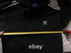Adidas Black Logo 3 Stripes Maxi Long Hooded Hoodie Tracksuit Dress Uk 22 XL