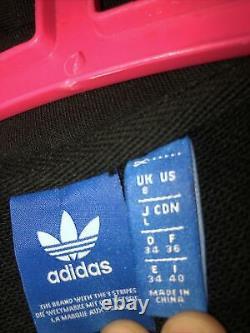 Adidas Black Logo 3 Stripes Maxi Long Hooded Hoodie Tracksuit Dress Uk 8 10 S