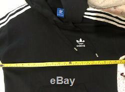 Adidas Black Maxi Long Hooded Hoodie Tracksuit Dress Three Stripes Uk 10 S M