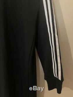 Adidas Black Maxi Long Hooded Hoodie Tracksuit Dress Three Stripes Uk 12 M L