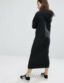 Adidas Black Maxi Long Hooded Hoodie Tracksuit Dress Three Stripes Uk 8 S