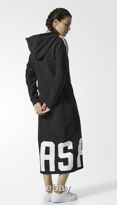 Adidas Originals Maxi Long Three Stripe Black Hoodie Sweatshirt Dress S