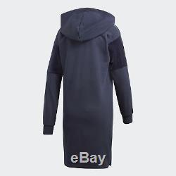 Adidas Originals Womens Blue Hooded Trefoil Hoody Dress Velvet Accents BQ7998
