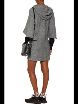Adidas Y-3 Yohji Yamamoto Women Gray Original Cape-Effect Hooded Mini Dress Sz M