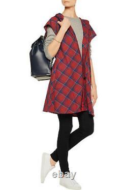 Adidas Y-3 by Yohji Yamamoto Women's Plaid Cotton Flannel Hooded Mini Dress S, M