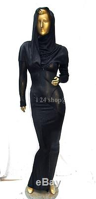 Alaia Vintage Black Acetate Hood Spiral Zipper Long Dress Gown Fit Museumxs